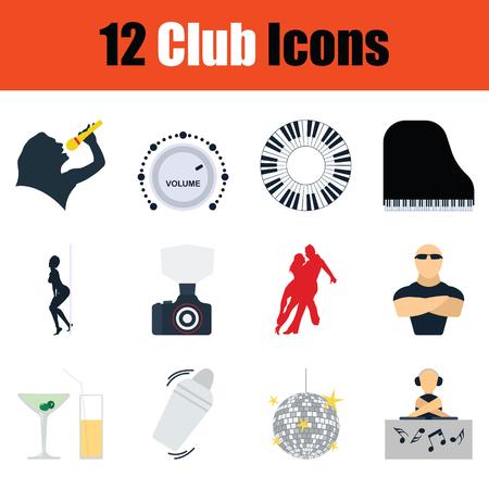 Set of Night club icons. Shadow reflection design. Vector illustration.