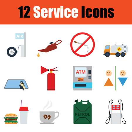 Set of  Petrol station icons. Full color design. Vector illustration. Stock Illustratie