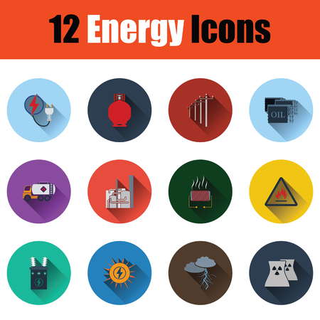 Energy icon set. Stencil color design. Vector illustration.