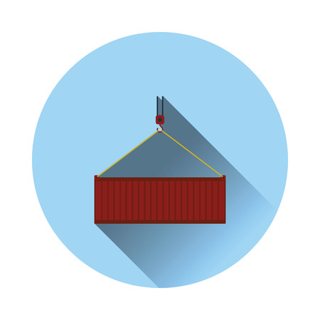 Crane hook lifting container. Logistic concept icon. Flat color with shadow design. Vector illustration.