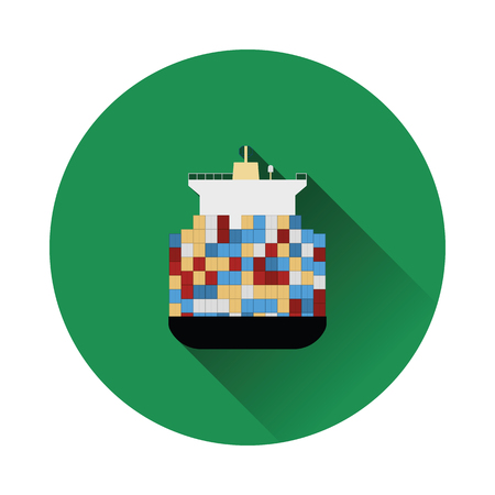 Container ship icon. Flat color with shadow design. Vector illustration.