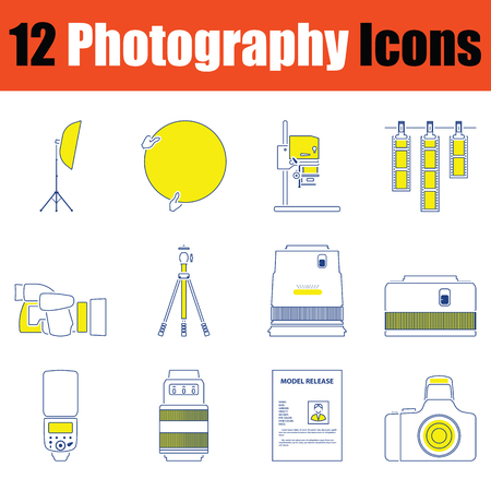 Photography icon set. Thin line design. Vector illustration. Stok Fotoğraf - 124303558