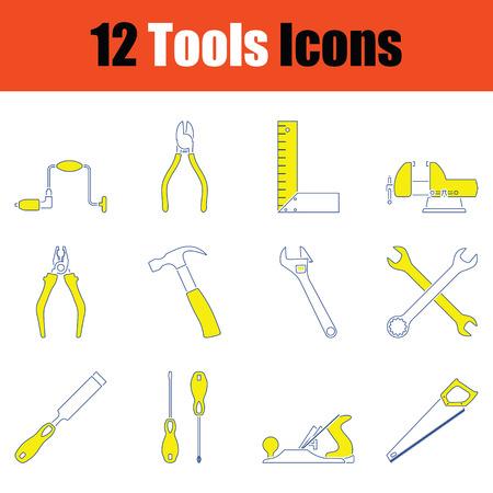 Tools icon set. Thin line design. Vector illustration.