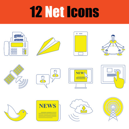 Communication icon set. Thin line design. Vector illustration. 矢量图片