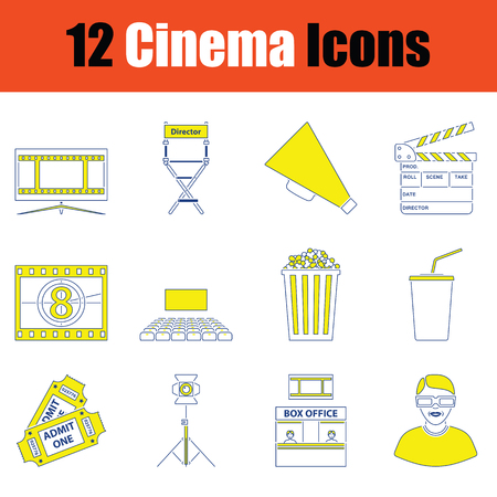 Cinema icon set. Thin line design. Vector illustration. Illusztráció