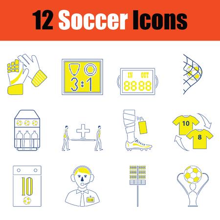 Football icon set. Thin line design. Vector illustration. Vectores