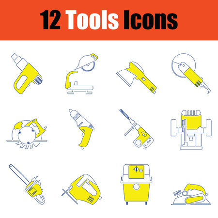 Tools icon set. Thin line design. Vector illustration.