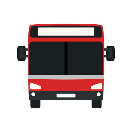 City bus icon front view. Flat color design. Vector illustration. Illustration