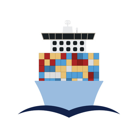 Container ship icon front view. Flat color design. Vector illustration.