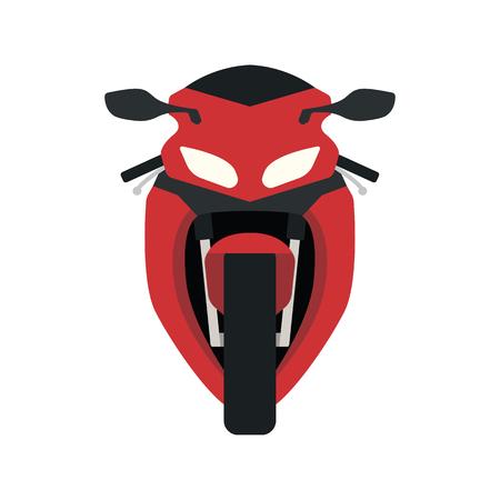 Vista frontal del icono de la motocicleta. Diseño de color plano. Ilustración de vector. Ilustración de vector