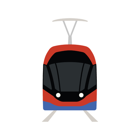 Tram icon front view. Flat color design. Vector illustration.