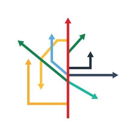 Direction Arrows Icon. Flat color design. Startup series. Vector illustration. Иллюстрация