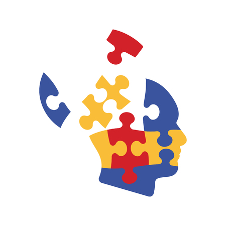 Solution Icon. Head From Puzzles Pieces. Flat color design. Startup series. Vector illustration.