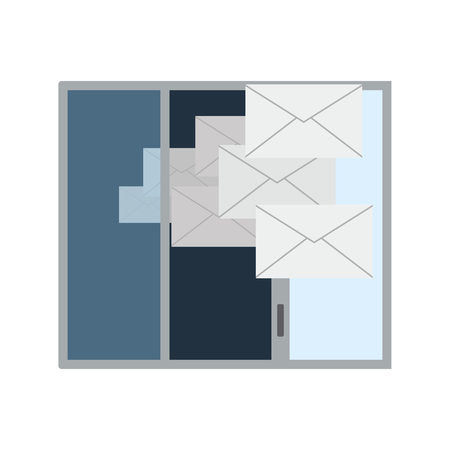Mailing Icon. Opened Window With Flying Out Mails. Flat color design. Data series. Vector illustration.