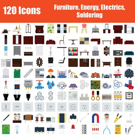 Set of 120 Icons. Furniture, Energy, Electrics, Soldering themes. Color Flat Design. Vector Illustration. Vektorgrafik