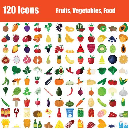 Set di 120 icone. Temi frutta, verdura, cibo. Design piatto a colori. Illustrazione di vettore.