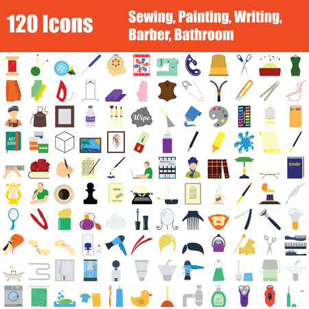 Set of 120 Icons. Sewing, Painting, Writing, Barber, Bathroom themes. Color Flat Design. Vector Illustration. Banco de Imagens - 124128928