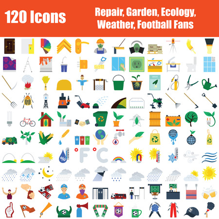 Set of 120 Icons. Repair, Garden, Ecology, Weather, Football Fans Themes. Color Flat Design. Vector Illustration. Illustration