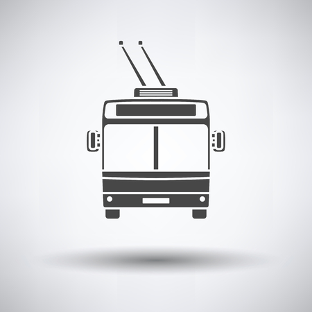 Trolleybus icon front view on gray background, round shadow. Vector illustration.