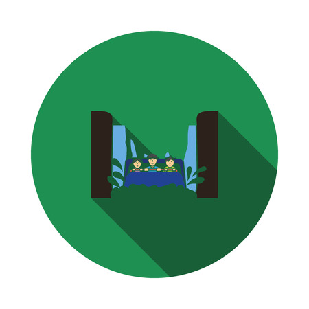 Water boat ride icon. Flat color design. Vector illustration.