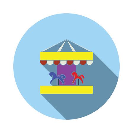Children horse carousel icon. Flat color design. Vector illustration. Stock Illustratie