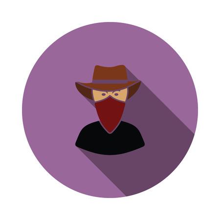 Cowboy with a scarf on face icon. Flat color design. Vector illustration. Ilustração