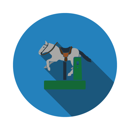 Horse machine icon. Flat color design. Vector illustration.