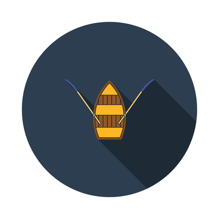 Paddle boat icon. Flat color design. Vector illustration. 矢量图像