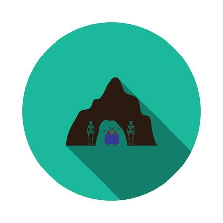 Scare cave in amusement park icon. Flat color design. Vector illustration.