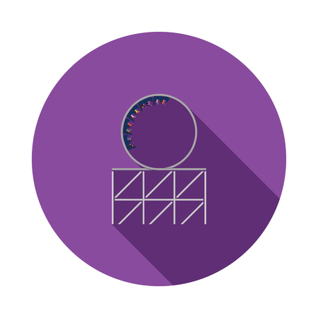 Roller coaster loop icon. Flat color design. Vector illustration. 矢量图片