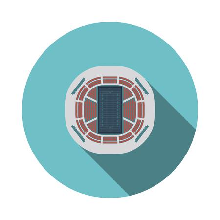 American football stadium birds-eye view icon. Flat color design. Vector illustration.