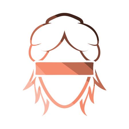 Femida head icon. Flat color design. Vector illustration.
