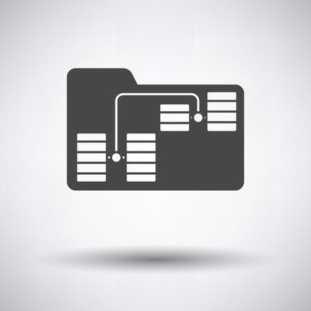 Icône de réseau de dossiers sur fond gris, ombre ronde. Illustration vectorielle.