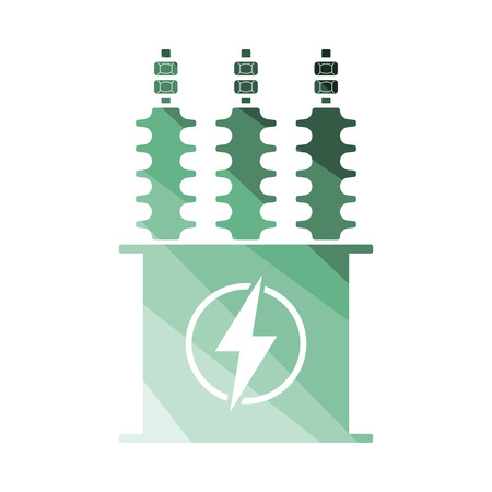 Electric transformer icon. Flat color design. Vector illustration.