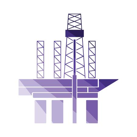 Oil sea platform icon. Flat color design. Vector illustration. Illustration