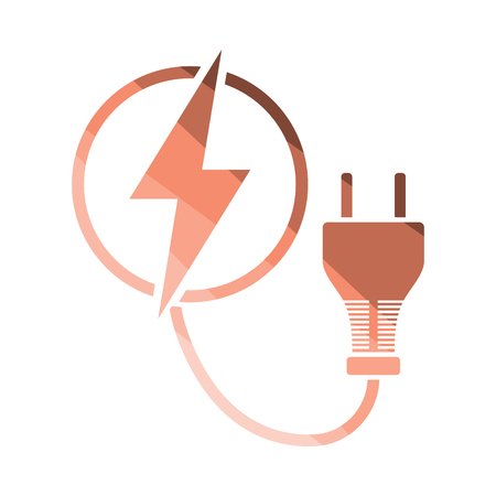 Electric plug icon. Flat color design. Vector illustration.