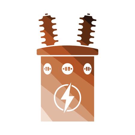 Electric transformer icon. Flat color design. Vector illustration.
