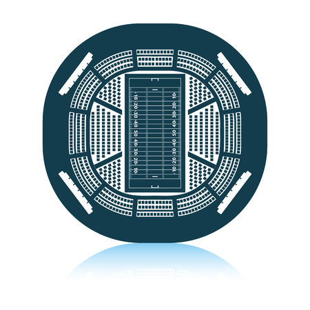 American football stadium birds-eye view icon. Shadow reflection design. Vector illustration. Иллюстрация