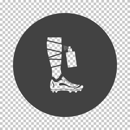 Soccer bandaged leg with aerosol anesthetic icon. Subtract stencil design on tranparency grid. Vector illustration.