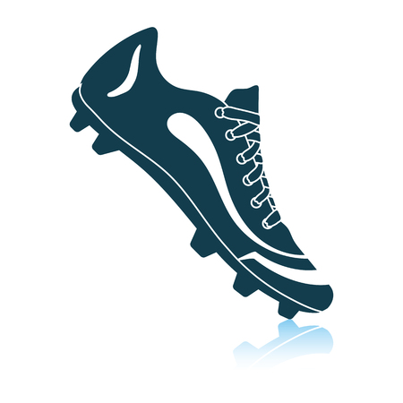 American football boot icon. Shadow reflection design. Vector illustration.