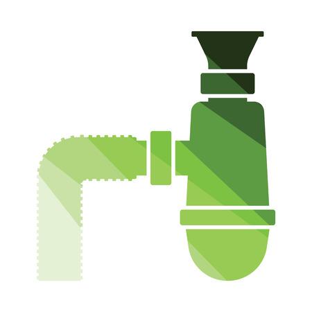Bathroom siphon icon. Flat color design. Vector illustration.