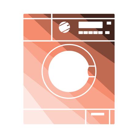 Washing machine icon. Flat color design. Vector illustration. Stock Illustratie