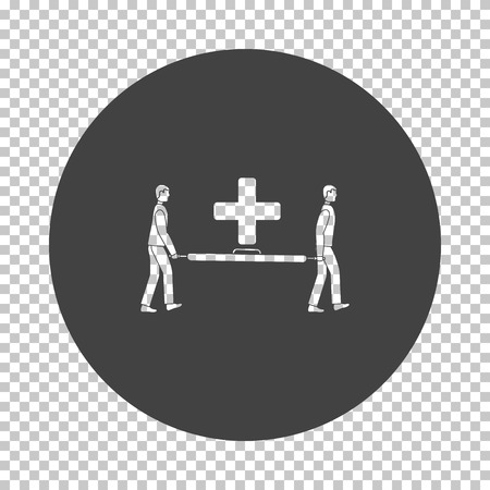 Soccer medical staff carrying stretcher icon. Subtract stencil design on tranparency grid. Vector illustration. Иллюстрация