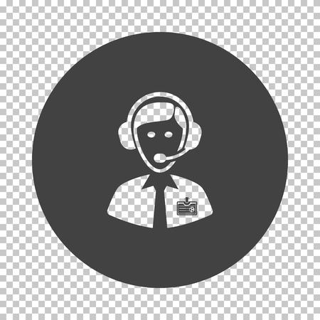 Soccer commentator icon. Subtract stencil design on tranparency grid. Vector illustration.