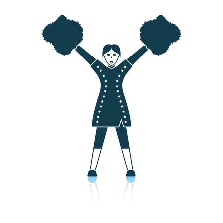 American football cheerleader girl icon. Shadow reflection design. Vector illustration.