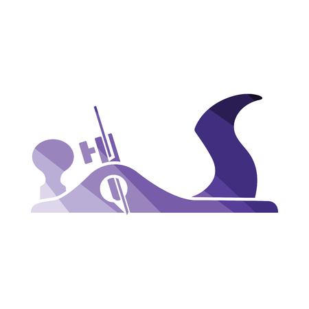 Jack-plane tool icon. Flat color design. Vector illustration.