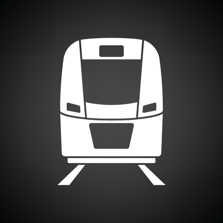 Train icon front view. Black background with white. Vector illustration.