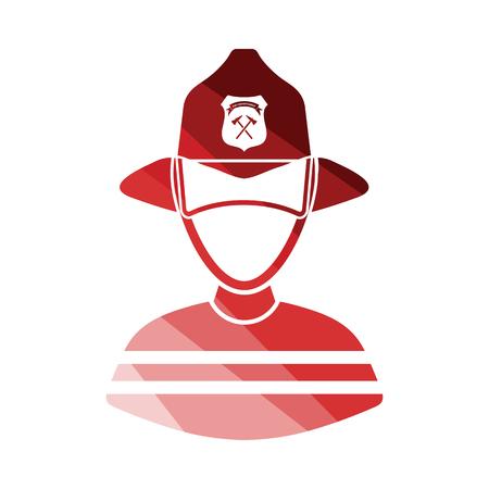 Fireman icon. Flat color design. Vector illustration.
