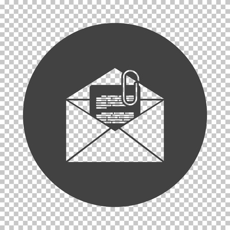 Mail with attachment icon. Subtract stencil design on tranparency grid. Vector illustration.