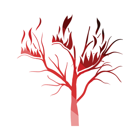 Wildfire icon. Flat color design. Vector illustration. 向量圖像